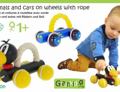 Petits animaux et voitures en bois avec corde