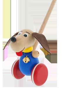 Jouet en bois à pousser Greenkid. Petit animal en bois pour les filles et les garçons - petit chien avec grelot. Fabrication tchèque de jouets en bois de haute qualité et sécurité Abafactory.