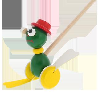 Jouets en bois de qualité Greenkid. Petite grenouille en bois - jouet à pousser qui claque. Produit tchèque sûr pour enfants Abafactory.