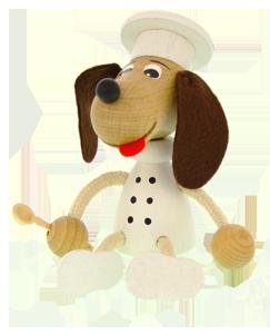 Figurine en bois Greenkid. Petit chien en bois-chef cuisinier d´un fabricant tchèque de jouets en bois et décoration pour enfants Abafactory.