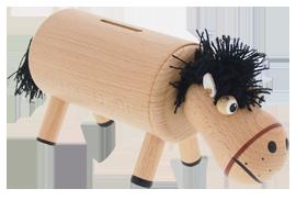 Greenkid - des jouets en bois et décorations pour enfants à partir d´un an. Tirelire en bois - petit cheval natur. Fabrication tchèque de jouets en bois de haute qualité Abafactory.