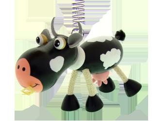 Petit animal en bois Greenkid. Petite vache en bois - jouet et décoration pour une chambre d´enfant d´un fabricant tchèque de jouets en bois Abafactory.
