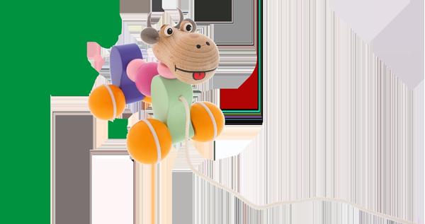 Jouet en bois à tirer de haute qualité pour pour les filles et les garçons. Petite vache en bois colorée d´un fabricant tchèque Abafactory.
