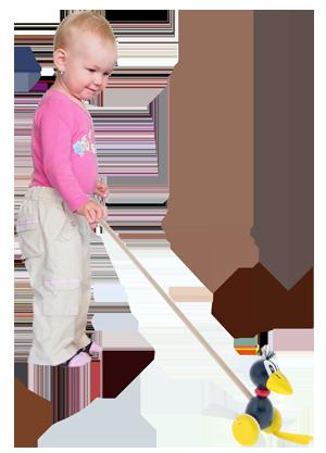 Jouets en bois de haute qualité. Un jouet à pousser qui claque - Corbeau. Produit tchèque produit sûr pour enfants Abafactory.