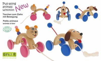 Jouets en bois à tirer Greenkid de fabricant tchèque Abafactory - pour la joie des enfants. Petits animaux à roulettes avec corde: corbeau - petit chien - coccinelle - souris.