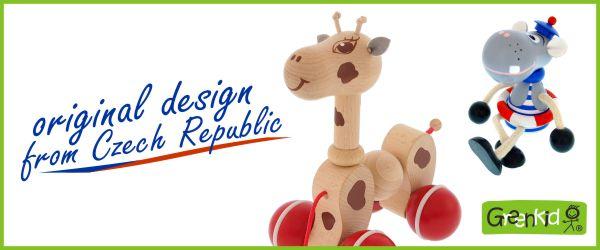 Abafactory - fabricant de jouets en bois de haute qualité -design et traitement originaux - fabriqué en Républiqe tchèque. Jouet en bois à tirer - Girafe. Figurine en bois, décoration pour enfants - Hippopotame.