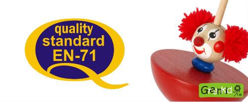 Abafactory - fabrication de jouets en bois de qualité conforme à la norme EU71. Toupie clown en bois.