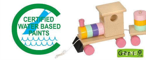 Abafactory - fabricant tchèque des jouets en bois emploie des couleurs certifiées et solubles dans l'eau. Jouets de qualité Greenkid. Petit train coloré.